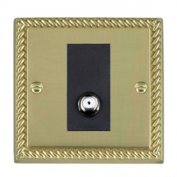 Hamilton Cheriton Georgian Polished Brass 1 Gang Non Isolated Satellite with Black Insert