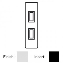 Focus SB Victorian VPC16.2B 2 gang 20 amp 2 way architrave switch in Polished Chrome with black inserts