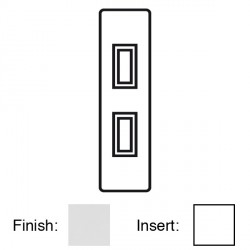 Focus SB Victorian VPC16.2W 2 gang 20 amp 2 way architrave switch in Polished Chrome with white inserts