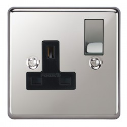Focus SB Victorian VPC18.1B 1 gang 13 amp switched socket in Polished Chrome with black inserts