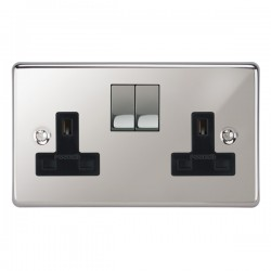 Focus SB Victorian VPC18.2B 2 gang 13 amp switched socket in Polished Chrome with black inserts