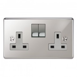 Focus SB Victorian VPC18.2W 2 gang 13 amp switched socket in Polished Chrome with white inserts