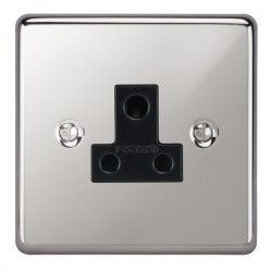 Focus SB Victorian VPC20.1B 1 gang 5 amp unswitched socket in Polished Chrome with black inserts
