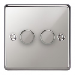 Focus SB Victorian VPC21.2 2 gang 2 way 250W (mains and low voltage) dimmer in Polished Chrome