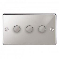 Focus SB Victorian VPC21.3 3 gang 2 way 250W (mains and low voltage) dimmer in Polished Chrome