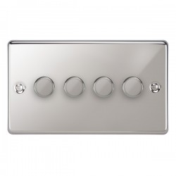 Focus SB Victorian VPC21.4 4 gang 2 way 250W (mains and low voltage) dimmer in Polished Chrome