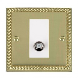 Hamilton Cheriton Georgian Polished Brass 1 Gang Non Isolated Satellite with White Insert