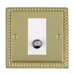 Hamilton Cheriton Georgian Polished Brass 1 Gang Non Isolated Satellite with White Insert
