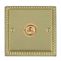 Hamilton Cheriton Georgian Polished Brass 1 Gang Push To Make Retractive Dolly with Polished Brass Insert