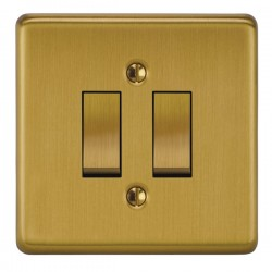 Focus SB Victorian VSB11.2 2 gang 20 amp 2 way rocker switch in Satin Brass