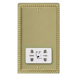 Hamilton Cheriton Georgian Polished Brass Shaver Socket Dual Voltage with White Insert