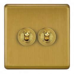 Focus SB Victorian VSB14.2 2 gang 20 amp 2 way toggle switch in Satin Brass