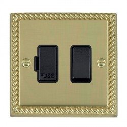 Hamilton Cheriton Georgian Polished Brass 1 Gang 13A Fused Spur Double Pole with Black Insert