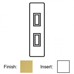 Focus SB Victorian VSB16.2W 2 gang 20 amp 2 way architrave switch in Satin Brass with white inserts
