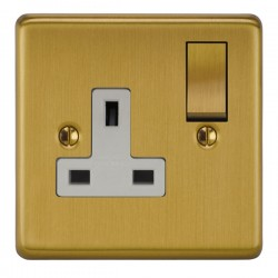 Focus SB Victorian VSB18.1W 1 gang 13 amp switched socket in Satin Brass with white inserts