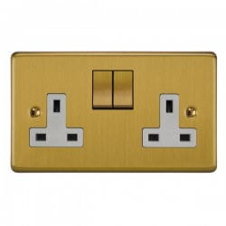 Focus SB Victorian VSB18.2W 2 gang 13 amp switched socket in Satin Brass with white inserts