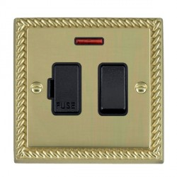 Hamilton Cheriton Georgian Polished Brass 1 Gang 13A Fused Spur Double Pole + Neon with Black Insert