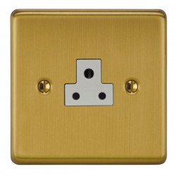 Focus SB Victorian VSB19.1W 1 gang 2 amp unswitched socket in Satin Brass with white inserts