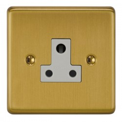 Focus SB Victorian VSB20.1W 1 gang 5 amp unswitched socket in Satin Brass with white inserts
