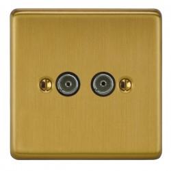 Focus SB Victorian VSB23.2 2 gang isolated co-axial TV socket in Satin Brass