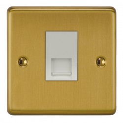 Focus SB Victorian VSB24.1W 1 gang master telephone socket in Satin Brass with white inserts