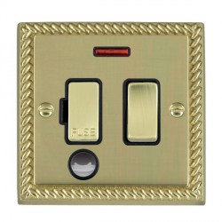 Hamilton Cheriton Georgian Polished Brass 1 Gang 13A Fused Spur Double Pole + Neon + Cable Outlet with Black Insert