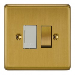 Focus SB Victorian VSB26.1W 13 amp switched fuse spur in Satin Brass with white inserts