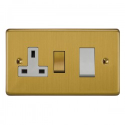 Focus SB Victorian VSB34.1W 45 amp cooker control switch and 13 amp switched socket. in Satin Brass with white inserts