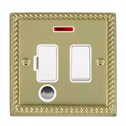 Hamilton Cheriton Georgian Polished Brass 1 Gang 13A Fused Spur Double Pole + Neon + Cable Outlet with White Insert