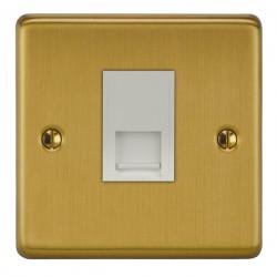Focus SB Victorian VSB51.1W 1 gang CAT5 RJ45 socket in Satin Brass with white inserts