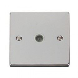 Click Deco Victorian Polished Chrome Single Coaxial Socket Outlet with White Insert
