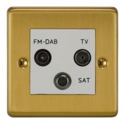 Focus SB Victorian VSB80.3W triplex TV/FM/Satellite outlet in Satin Brass with white inserts