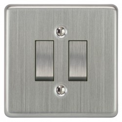 Focus SB Victorian VSC11.2 2 gang 20 amp 2 way rocker switch in Satin Chrome