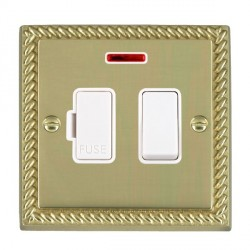 Hamilton Cheriton Georgian Polished Brass 1 Gang 13A Fused Spur Double Pole + Neon with White Insert