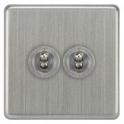 Focus SB Victorian VSC14.2 2 gang 20 amp 2 way toggle switch in Satin Chrome