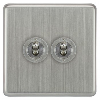 Focus SB Victorian VSC14 2 2 gang 20 amp 2 way toggle switch in Satin Chrome