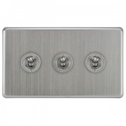 Focus SB Victorian VSC14.3 3 gang 20 amp 2 way toggle switch in Satin Chrome