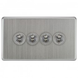 Focus SB Victorian VSC14.4 4 gang 20 amp 2 way toggle switch in Satin Chrome