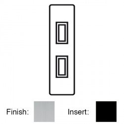 Focus SB Victorian VSC16.2B 2 gang 20 amp 2 way architrave switch in Satin Chrome with black inserts