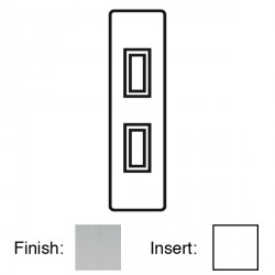 Focus SB Victorian VSC16.2W 2 gang 20 amp 2 way architrave switch in Satin Chrome with white inserts
