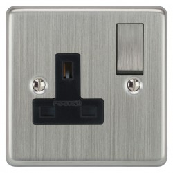 Focus SB Victorian VSC18.1B 1 gang 13 amp switched socket in Satin Chrome with black inserts