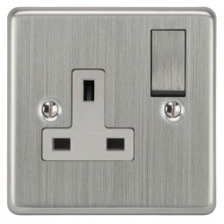 Focus SB Victorian VSC18.1W 1 gang 13 amp switched socket in Satin Chrome with white inserts