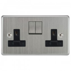 Focus SB Victorian VSC18.2B 2 gang 13 amp switched socket in Satin Chrome with black inserts