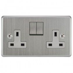 Focus SB Victorian VSC18.2W 2 gang 13 amp switched socket in Satin Chrome with white inserts