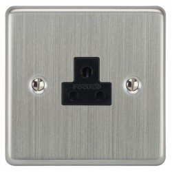 Focus SB Victorian VSC19.1B 1 gang 2 amp unswitched socket in Satin Chrome with black inserts