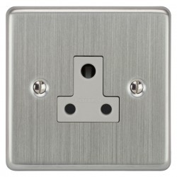 Focus SB Victorian VSC20.1W 1 gang 5 amp unswitched socket in Satin Chrome with white inserts
