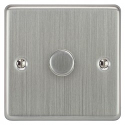 Focus SB Victorian VSC21.1 1 gang 2 way 250W (mains and low voltage) dimmer in Satin Chrome