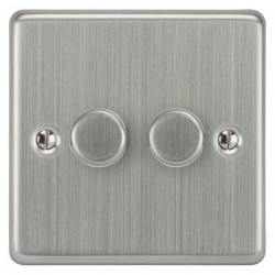 Focus SB Victorian VSC21.2 2 gang 2 way 250W (mains and low voltage) dimmer in Satin Chrome