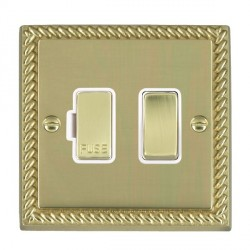 Hamilton Cheriton Georgian Polished Brass 1 Gang 13A Fused Spur Double Pole with White Insert