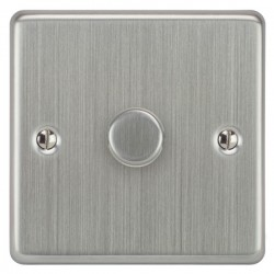 Focus SB Victorian VSC22.1 1 gang 2 way 400W (mains and low voltage) dimmer in Satin Chrome